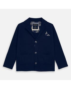 JACKET NAVY KNIT 3 BUTTONS CLOSURE POCKETS