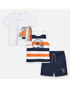 3 PC SHORT SET ORANGE NAVY & WHITE 2 TOPS