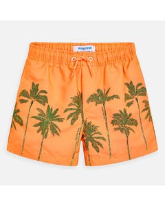 SWIM TRUNK ORANGE GREEN PALM PRINT