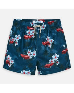 SWIM TRUNK NAVY RED CAR & HIBISCUS PRINT