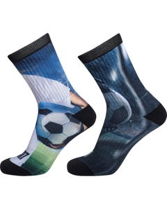 2 PK SOCKS SOCCER BALL PRINT COTTON STRETCH