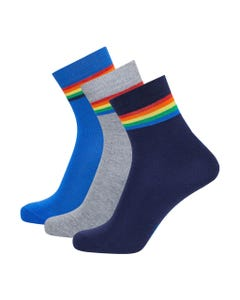 3 PK SOCKS GREY NAVY BLUE COTTON STRETCH