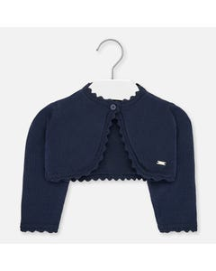 CARDIGAN NAVY SCALLOPED EDGE
