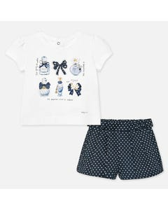 2 PC SHORT SET WHITE & NAVY DOT SHORT