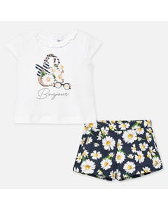 2 PC SHORT SET NAVY DAISY PRINT & WHITE TOP