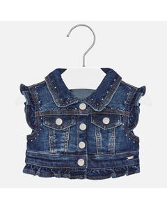 VEST DENIM SILVER DOT TRIM