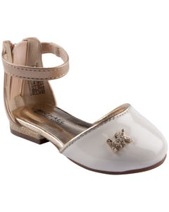 SANDAL NUDE IVORY & SOFT GOLD HIGH BACK WITH ZIPPER