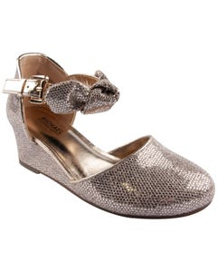 SANDAL SILVER SAND WITH BOW & RAISED HEEL