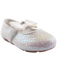 SHOE WHITE SILVER SHIMMER BOW TRIM