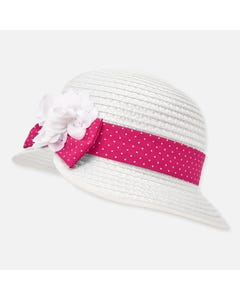 STRAW HAT WHITE RED BAND TRIM & FLOWER