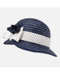 STRAW HAT NAVY WHITE DOT BAND TRIM & FLOWER