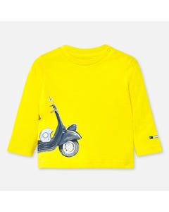 TSHIRT YELLOW BLUE SCOOTER PRINT LONG SLEEVE