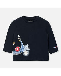 TSHIRT NAVY BLUE SCOOTER PRINT LONG SLEEVE