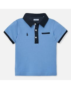 POLO TOP BLUE NAVY COLLAR SHORT SLEEVE