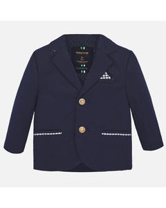BLAZER NAVY LINEN CHECK TRIM