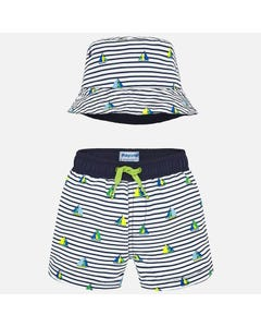 2PC SWIM TRUNK & HAT BLUE & WHITE STRIPE SAILBOAT PRINT