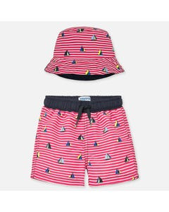 2 PC SWIM TRUNK & HAT RED WHITE STRIPE SAILBOAT PRINT