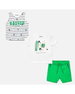 3 PC SHORT SET WHITE & GREEN 2 TOPS