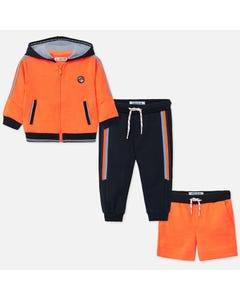 3 PC TRACKSUIT ORANGE & NAVY PANT & SHORT HOODED