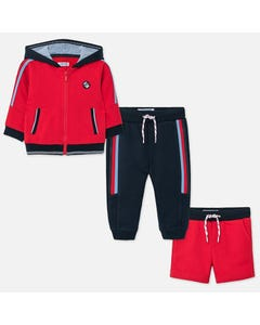 3 PC TRACKSUIT RED & NAVY PANT & SHORTS HOODED