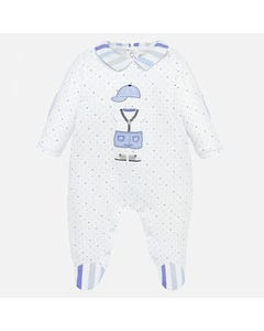 SLEEPER WHITE BLUE DOTS STRIPE COLLAR BOY APPLIQUE