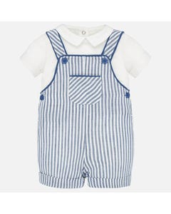 2 PC SHORTALL SET BLUE STRIPE & WHITE