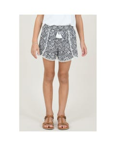 SHORTS NAVY & WHITE PETALS LACE EDGE TRIM