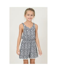 PLAYSUIT NAVY & WHITE PETALS LACE FRONT CUTOUT