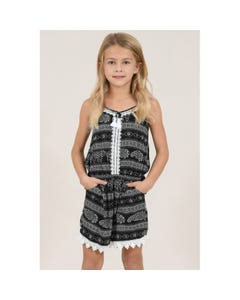 PLAYSUIT BLACK & WHITE PRINT LACE TRIM