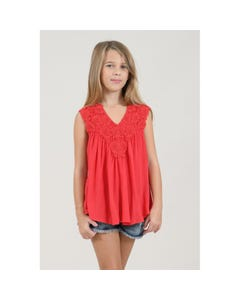 BLOUSE RED LACE FRONT & BACK