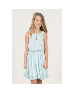 DRESS MINT & WHITE PRINT ORGANZA