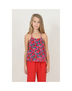 CAMISOLE TOP RED MULTI FLORAL PRINT
