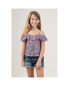 CAMISOLE TOP PINK & NAVY PRINT FLOUNCE & SPAGHETTI STRAPS