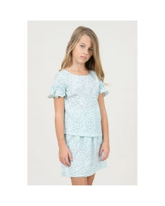 BLOUSE MINT & WHITE PRINT RUFFLE CAP SLEEVE
