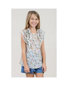 TUNIC TOP WHITE GARDEN FLOWERS PRINT RUFFLE TRIM