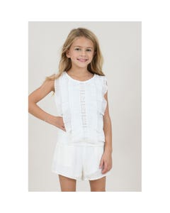 TOP WHITE CUTOUT & PLEATED FLOUNCES FRONT TRIM