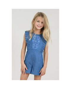 PLAYSUIT DENIM BLUE PLEATED FLOUNCE & EMBROIDERY TRIM