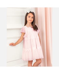 DRESS ROSE PRINTED TULLE LACE TRIM