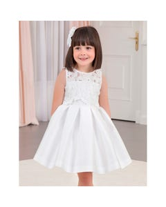 DRESS WHITE GUIPURE LACE & PLEATED SKIRT
