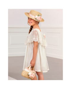 DRESS CREAM EMBROIDERED TULLE