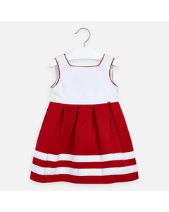 DRESS RED & WHITE STRIPE PLEATED