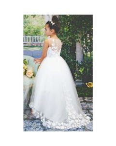 DRESS IVORY TULLE FLOWER APPLIQUE TRAIN