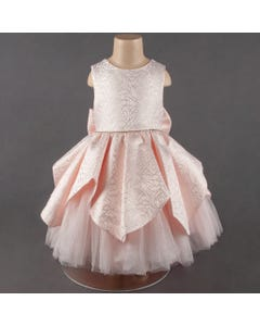 DRESS PINK EMBOSSED & TULLE TRIM BOW TRIM R STONE