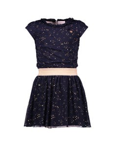 DRESS NAVY GOLD DOT EMBROIDERED TULLE ELASTIC WAIST