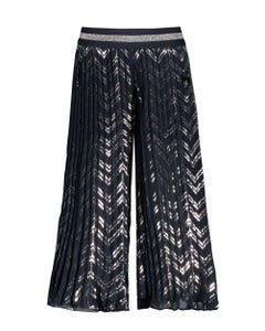 PANT NAVY SILVER PRINTED PLISSEE PLEATED