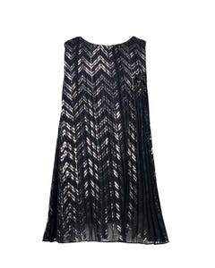 DRESS NAVY & SILVER PRINTED PLEATED PLISSEE