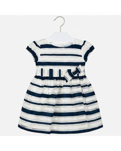 Mayoral Girls Dress Navy White Striped Organza  Size 2-9 | Girls Dresses 3926 Stripe