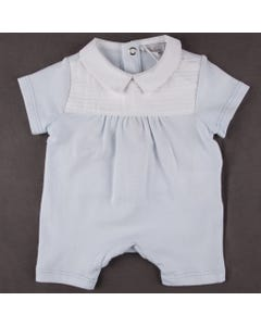 SLEEPER SHORT BLUE WHITE PLEATED FRONT & COLLAR