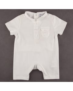 SLEEPER SHORT WHITE COTTON IMITATION POCKET