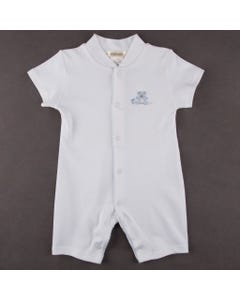 SLEEPER SHORT WHITE PUMA COTTON BLUE BEAR EMBROIDERY